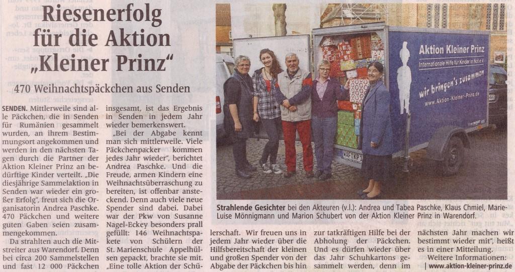 Riesenerfolg Päckchenaktion Kleiner Prinz, Dez. 2014