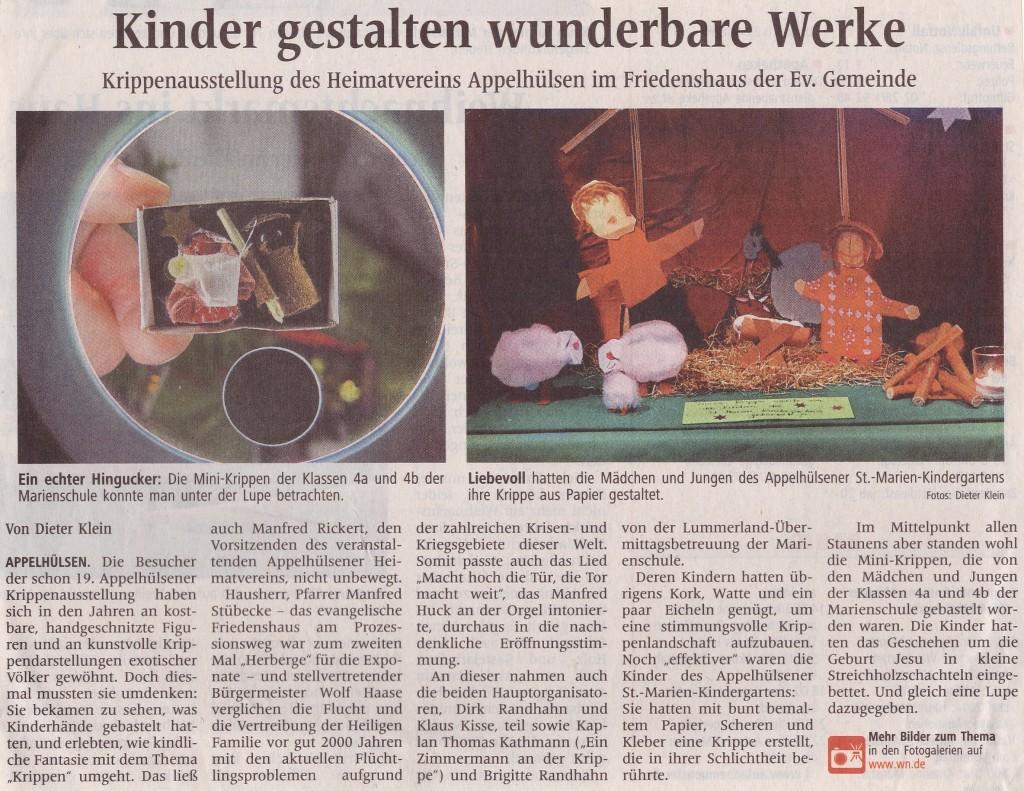 Artikel WN vom 2014_12_10: Kinder gestalten wunderbare Werke