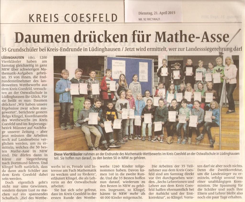 2015_04_21 WN Bericht Mathe-Wettbewerb mit Tobias 4a