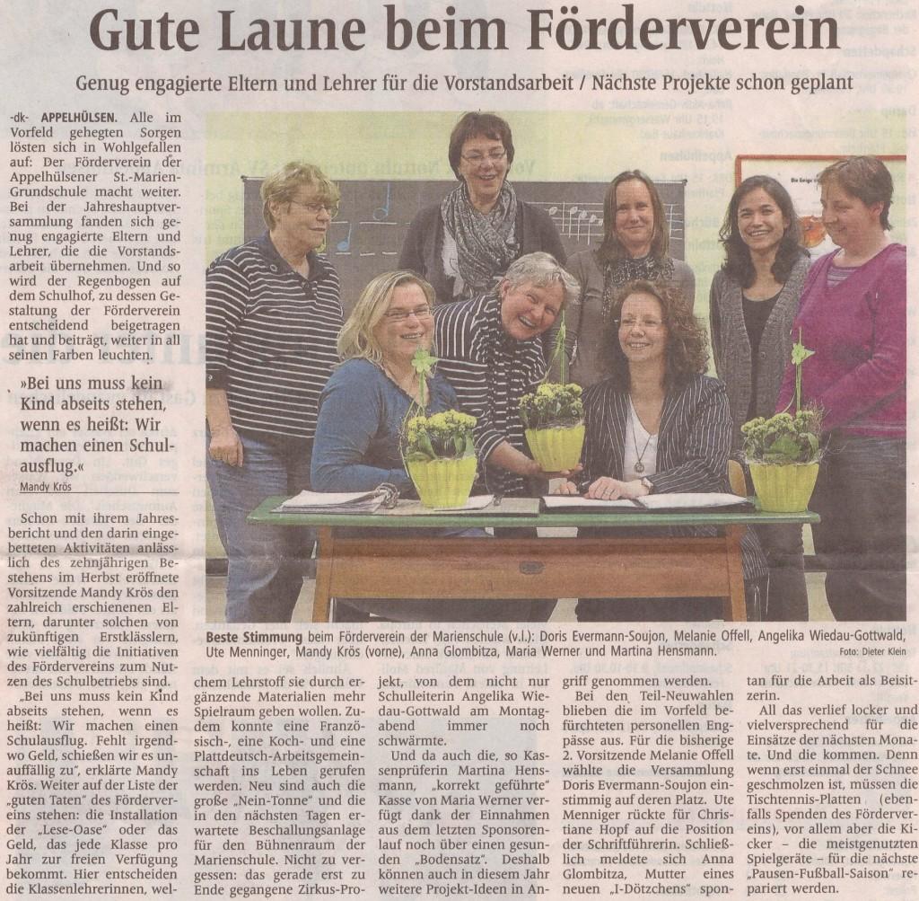 Zeitungsbericht Neuwahl Förderverein vom 13.03.2013
