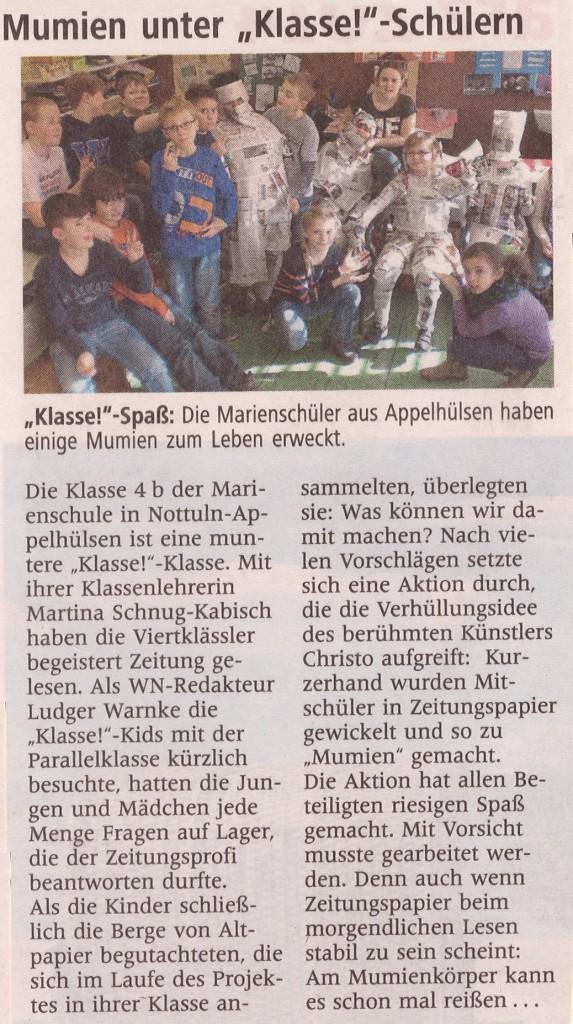 Medienprojekt 4b, Mumien wickeln, 18.03.2014