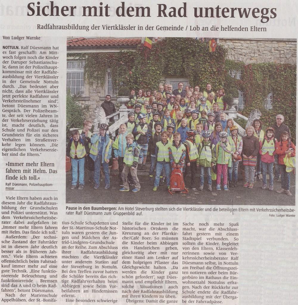 Sicher mit dem Rad unterwegs, Artikel WN vom 23.09.2014