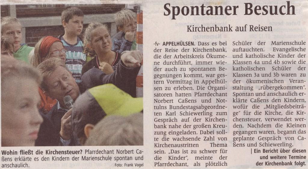 Kirchenbank auf Reisen - Spontaner Besuch Pressebericht vom 20.09.2014