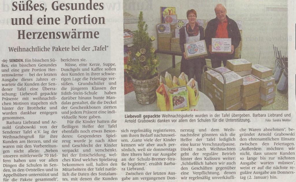Zeitungsbericht Sendener Tafel, Verwendung Spende Dez. 2013