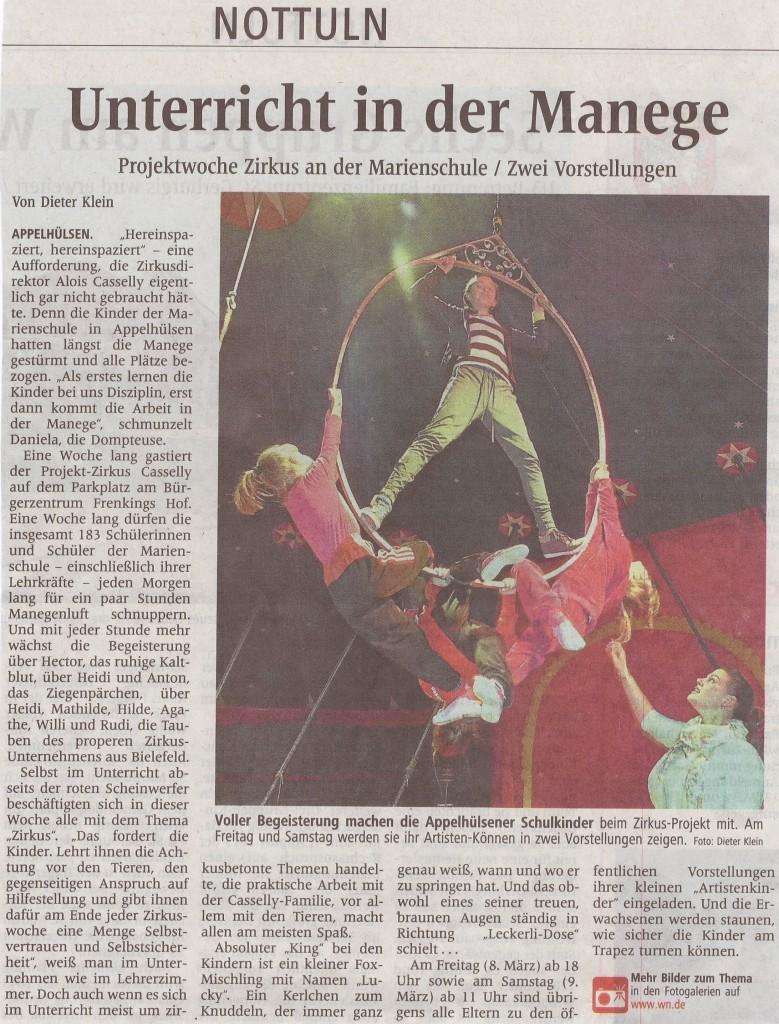 Unterricht in der Manege, WN-Artikel vom 08.03.2013