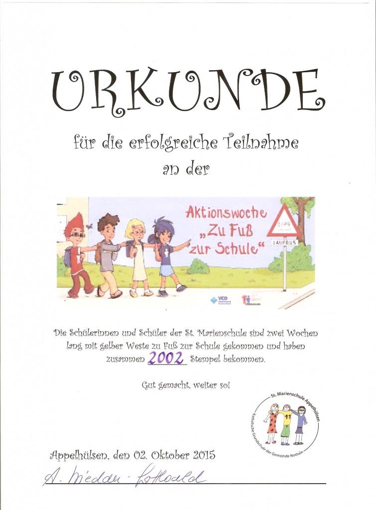 """Urkunde """"Zu Fuß zur Schule"""", 19.10.2015"""