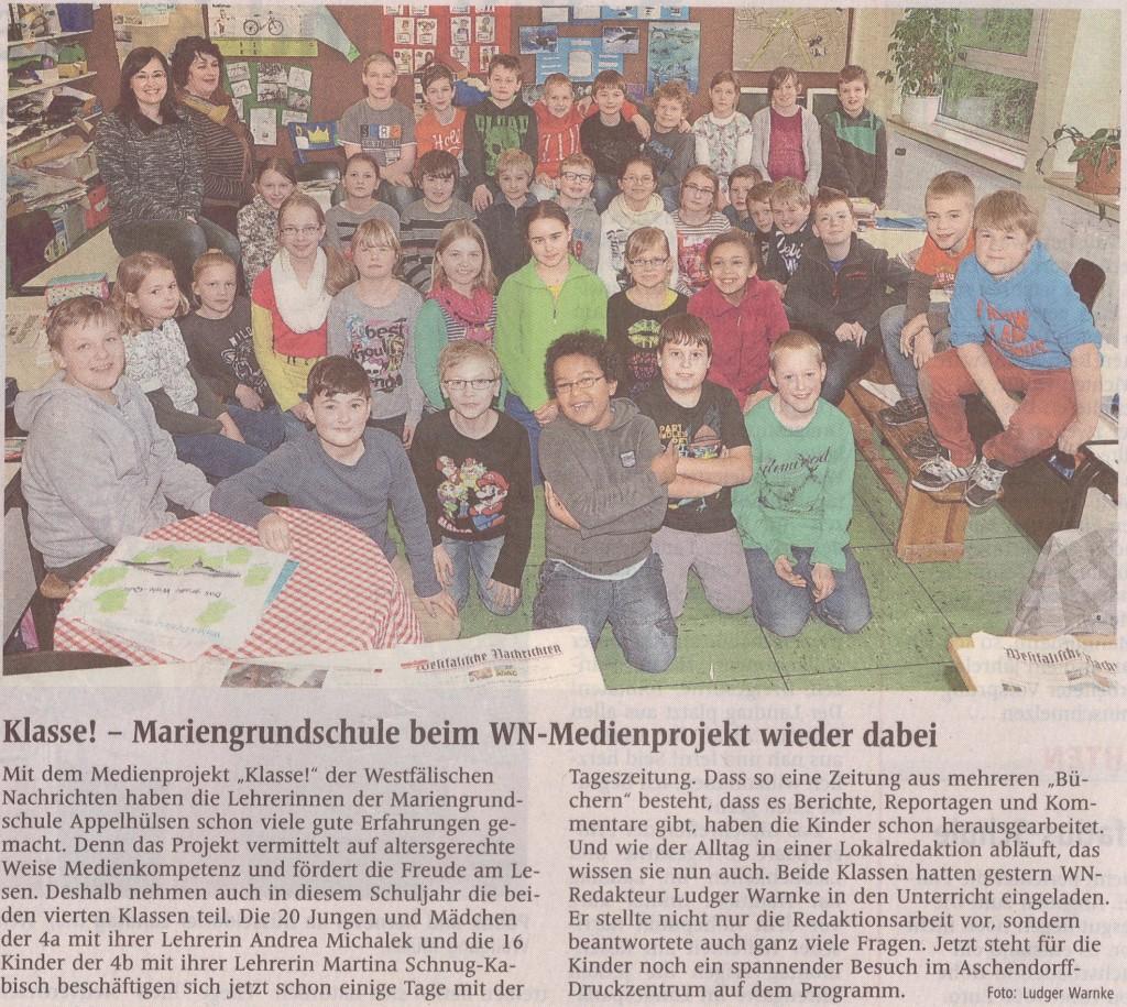 WN-Medienprojekt Klasse! mit 4a/b, Februar 2014