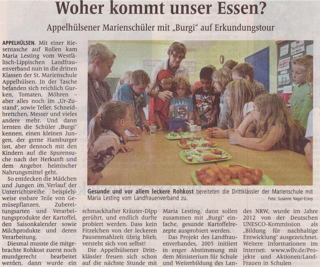 WN vom 2014-09-23 Burgi-Projekt mit Maria Lesting: Woher kommt unser Essen