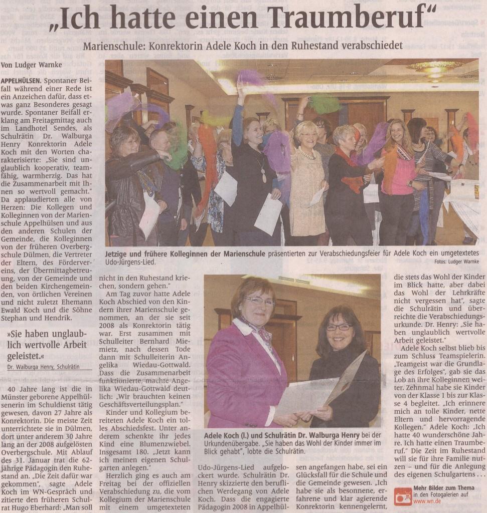 Zeitung, offizielle Verabschiedung, 01.02.2013