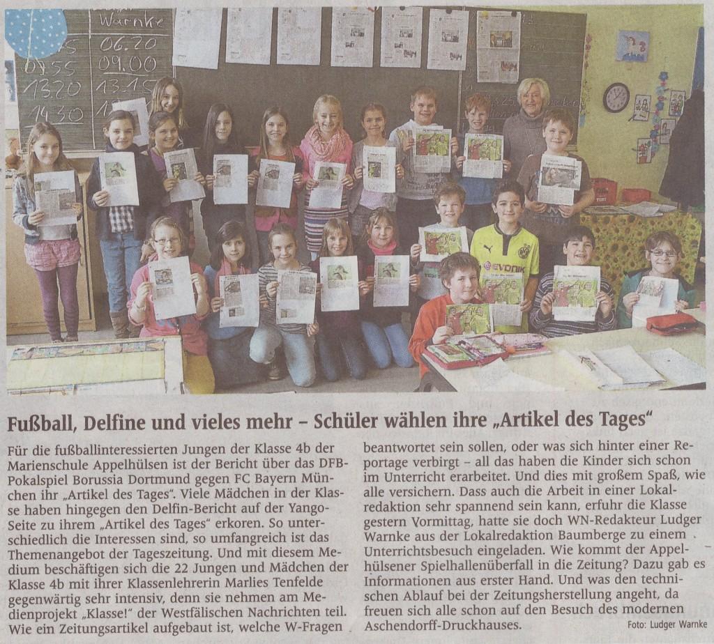 Zeitungsprojekt Klasse 4b, 01.03.2013