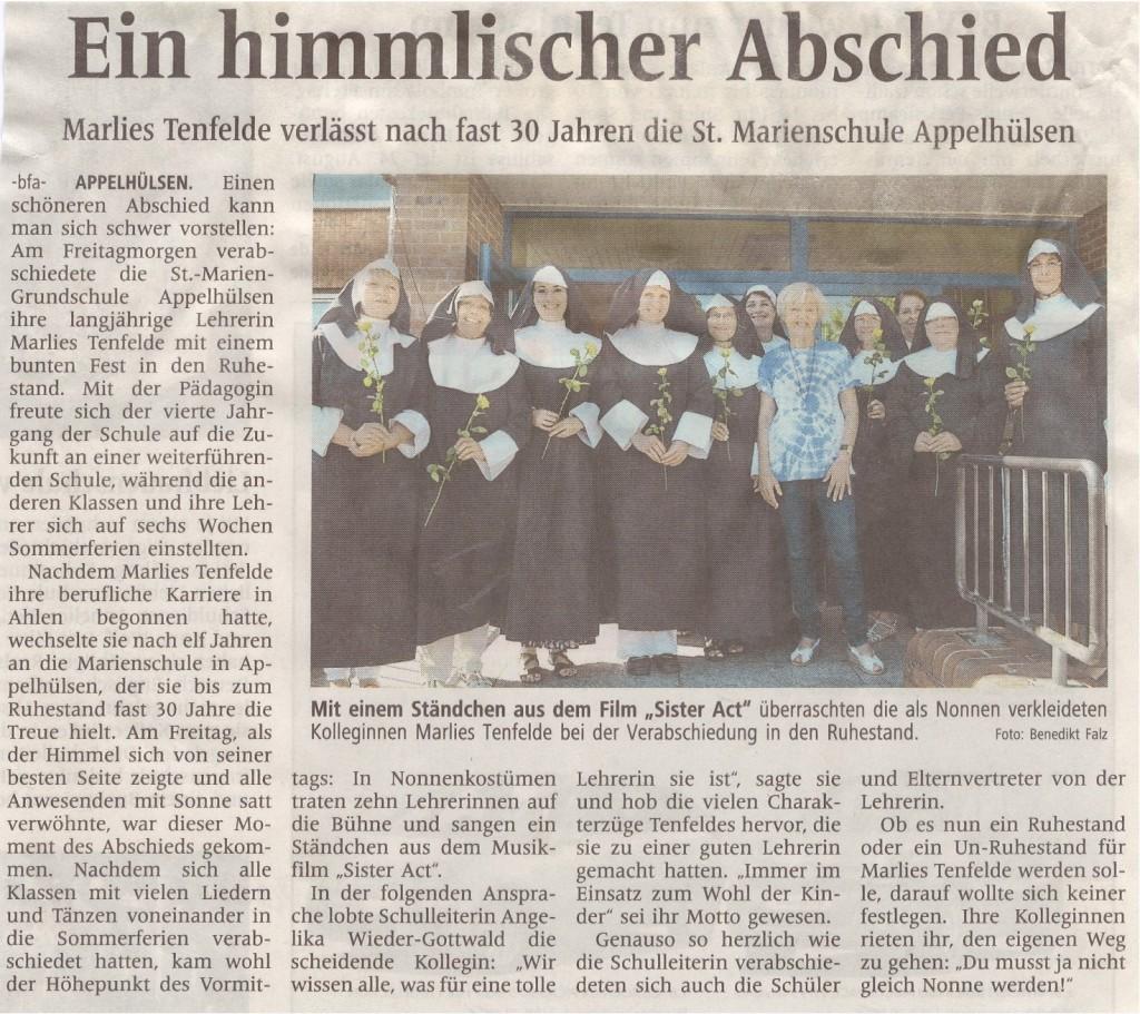 Himmlischer Abschied von 4a-c und Marlies Tenfelde, 19.07.2013