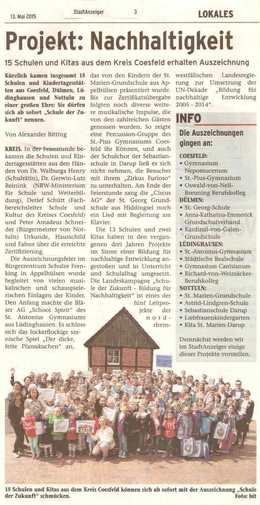 2015_05_13 Stadtanzeiger Bericht Auszeichnungsfeier