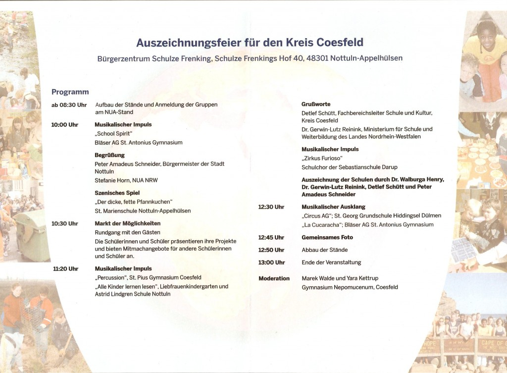 Programm Auszeichnungsfeier, 6. Mai 2015